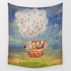 Happy children in the   air balloon in the sky - illustration art Wall Tapestry