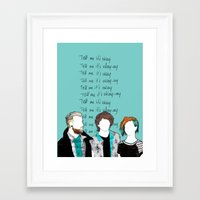 paramore Framed Art Prints featuring Tell me it's okay by Marconte