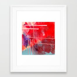 Jubilee: a vibrant abstract piece in reds and pinks Framed Art Print