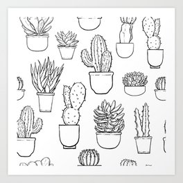 Cactus and Succulent Pattern Art Print