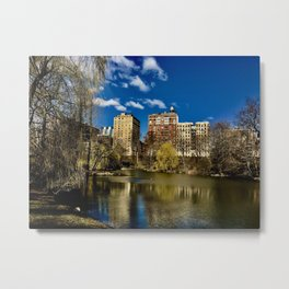 Urban Reflections in a Pond Metal Print