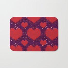 Galaxy Hearts Grunge Style Pattern Bath Mat