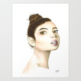 Looking Over My Shoulder Watercolour Portrait Art Print