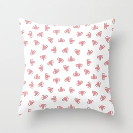 Crazy Happy Uterus in White, small repeat Throw Pillow