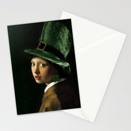 Girl With A Shamrock Earring Stationery Cards