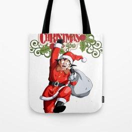 Merry Christmas Dragon Ball Goku Tote Bag
