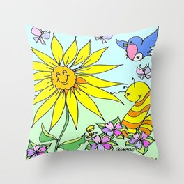 """Willy Worm Sunny Feeling"" Throw Pillow"
