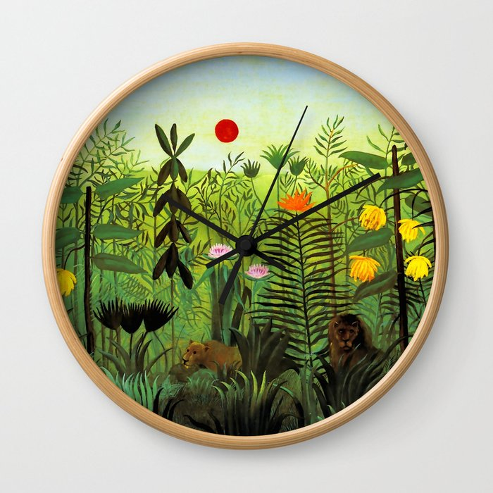 """Henri Rousseau """"Exotic Landscape with Lion and Lioness in Africa"""", 1903-1910 Wall Clock"""