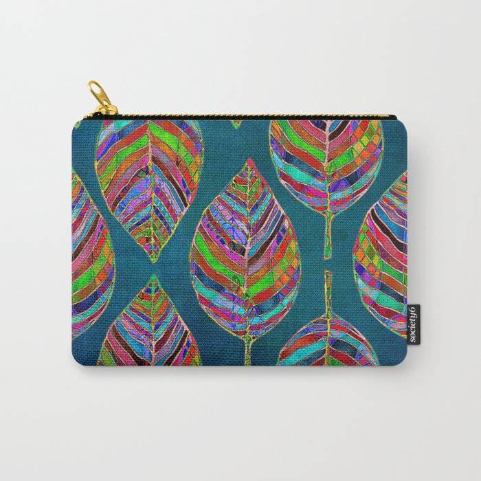Multicolor Leaf Pattern Carry-All Pouch