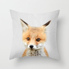 Baby Fox - Colorful Throw Pillow