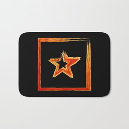 Fire star in red and blue color on a black background. Bath Mat
