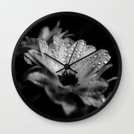 Daisies in black and white Wall Clock