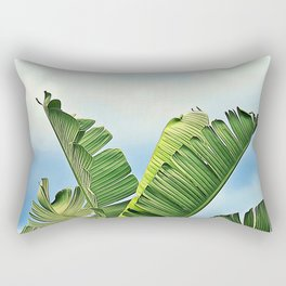 Frayed Palm Fronds Against Blue Sky Rectangular Pillow