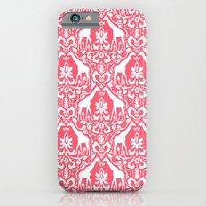 Giraffe Damask Coral iPhone 6 Slim Case