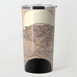 Abstract landscape yin yang moon & sun ocean wave  Travel Mug