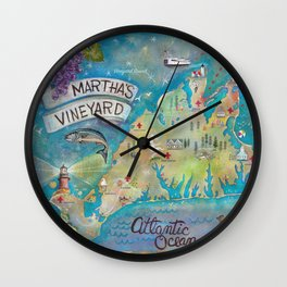 "Official Martha's Vineyard ""Outsiders"" Map Wall Clock"