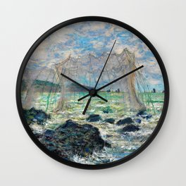 Fishing nets at Pourville - Claude Monet Wall Clock