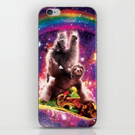 Space Cat Llama Sloth Riding Taco iPhone Skin