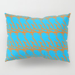 Wicker pattern of squiggles and brown ropes on a light blue background. Pillow Sham
