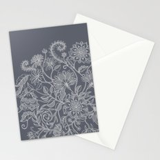 Jacobean Inspired Light on Dark Grey Floral Doodle Stationery Cards