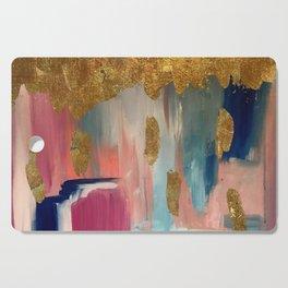 Gold Leaf & Indigo Blue Abstract Cutting Board