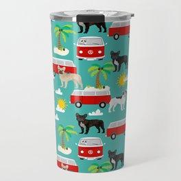 French Bulldogs beach mini van surfing pet friendly dog breed pattern palm trees Travel Mug