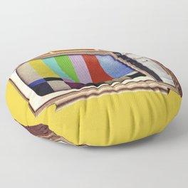 Retro old TV on test screen pattern Floor Pillow