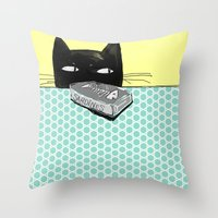 kitty Throw Pillows featuring Kitty  by Mary Kilbreath