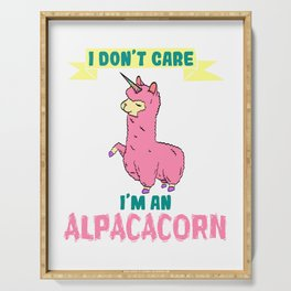Alpaca Shirt Typography With An Image Of Alpaca Saying I Don't Care I'm An Alpacacorn T-shirt Design Serving Tray