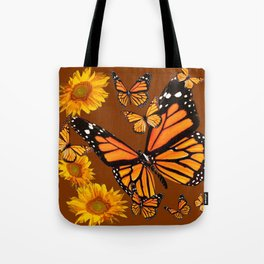 MONARCH BUTTERFLIES & GOLDEN SUNFLOWERS ON COFFEE BROWN Tote Bag