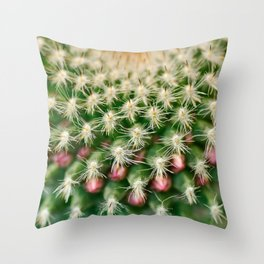 Cactus close-up shot, natural abstract background Throw Pillow