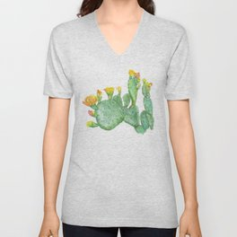Prickly Pear Cactus Watercolor Unisex V-Neck