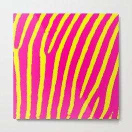 Zebra Print (Pink & Yellow) Metal Print