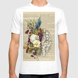 medical floral brain T-shirt