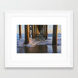 Sunset ~ Huntington Beach Pier PIlings  7/24/13 Framed Art Print