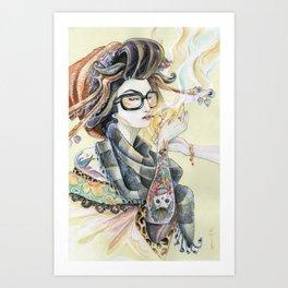 Hipster Oiran Art Print