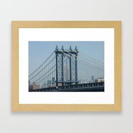 Empire State through Manhattan Bridge Framed Art Print