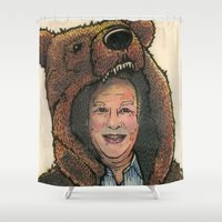 marc Shower Curtains featuring Bear Suit Marc by Kyle Miller