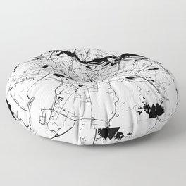 Amsterdam White on Black Street Map Floor Pillow