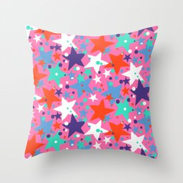 Fun ditsy print with constellations and twinkle lights Throw Pillow