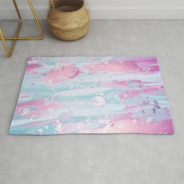 Shine Shimmer Pastel Pink and Blue Modern Rug
