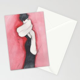 Girl in black dress Stationery Cards