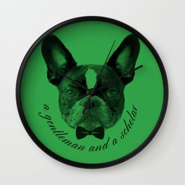 James: A Gentleman and a Scholar in Green Wall Clock
