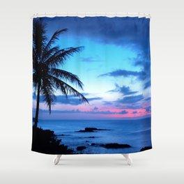 Tropical Island Beach Ocean Pink Blue Sunset Photo Shower Curtain