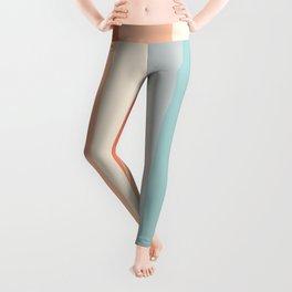 striped color pattern - red , orange, grey, green, Leggings