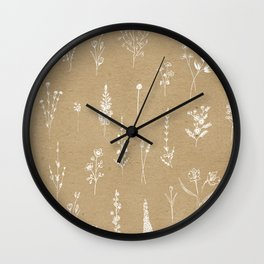 Wildflowers kraft Wall Clock