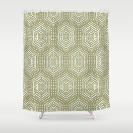 Boho Painted Light Olive Shower Curtain