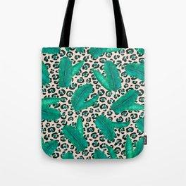 Trendy Tropical Banana Leaf Leopard Print Tote Bag
