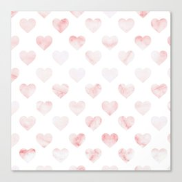 Pink Marble Hearts Canvas Print