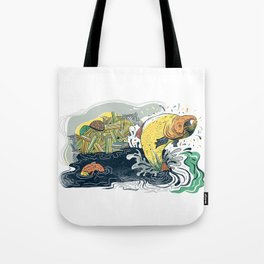 Salmon Jumping Tote Bag